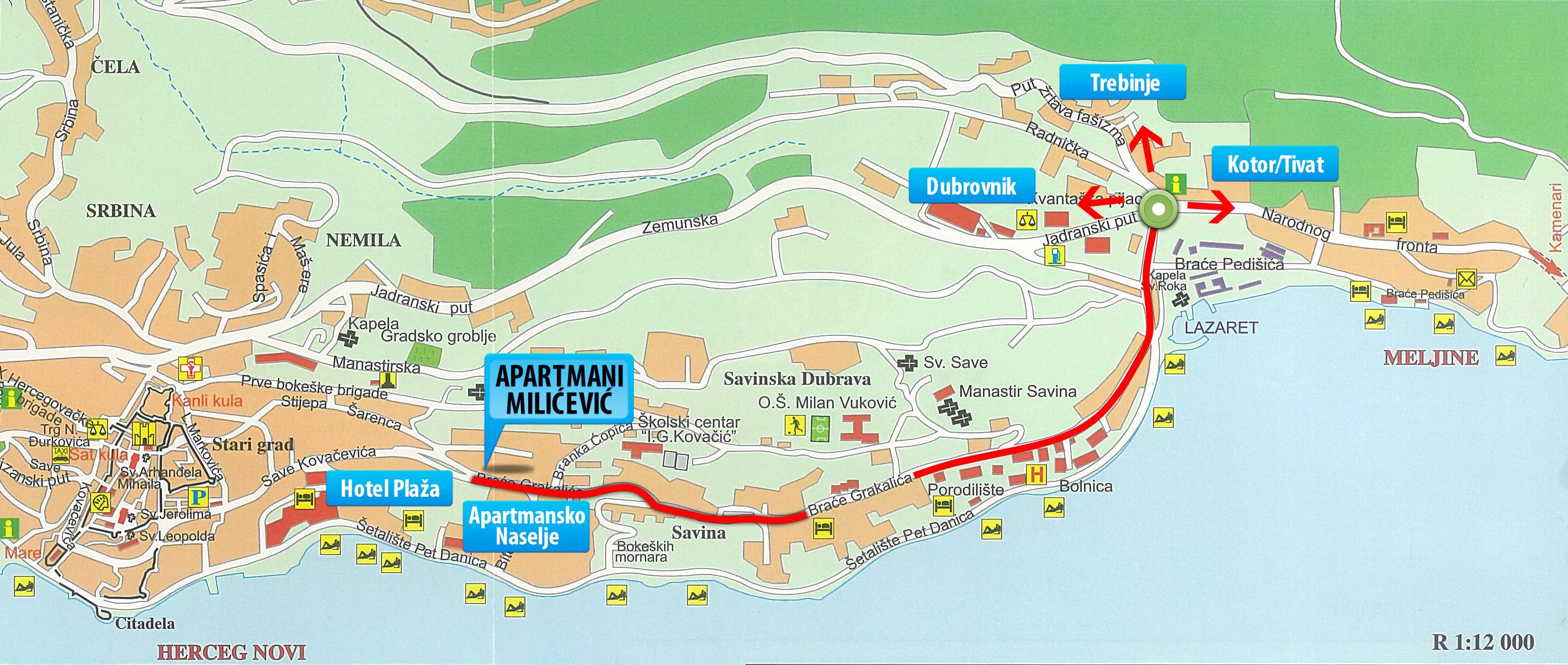 herceg novi mapa APARTMENTS MILICEVIC * * * HERCEG NOVI   HOLIDAY IN MONTENEGRO herceg novi mapa